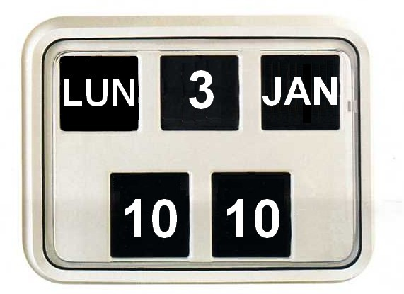 Horloge et calendrier chiffres sautants format m dium for Calendrier digital mural